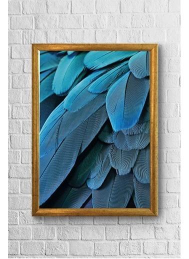 Lyn Home & Decor Mavi Tüy Desen Çerçeveli Poster Tablo 17,5X23,5 Sarı
